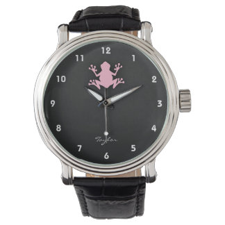 Grenouille rose-clair montres cadran