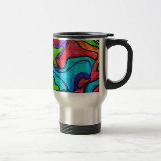 Gribouillis décalés - art abstrait moderne mug de voyage en acier inoxydable
