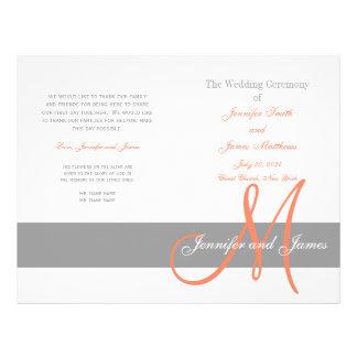 Grijs Programma | van het Huwelijk van het Koraal  Folder Ontwerp