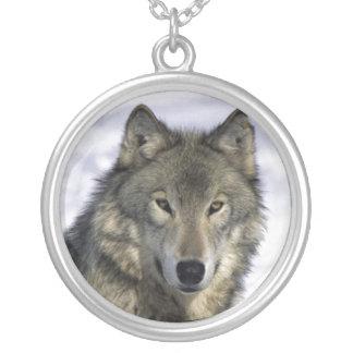 Grijze Wolf Zilveren Neckace Zilver Vergulden Ketting