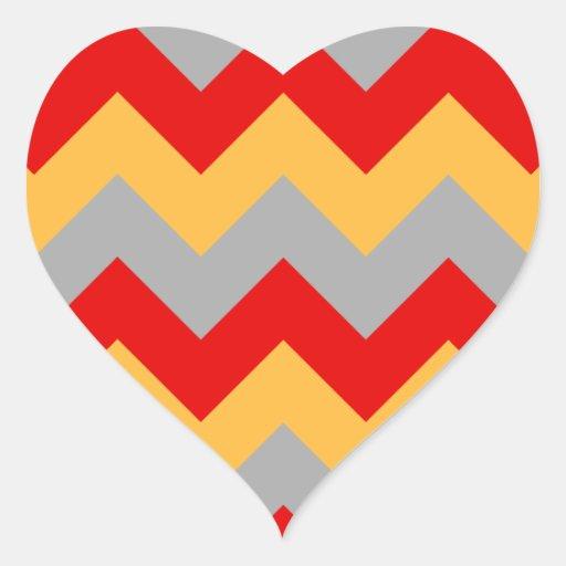 Grijze zigzag I -, Oranje, Rood Hartvormige Stickers