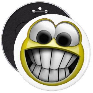 Grimacerie du visage souriant heureux badge rond 15,2 cm