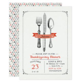 Gris de pêche d'ustensiles de dîner de carton d'invitation  12,7 cm x 17,78 cm