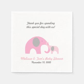 GRIS de ROSE de douche d'éléphant de mère et de Serviettes En Papier