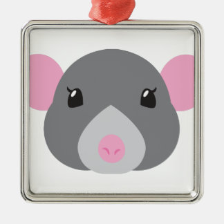 gris de visage de rat de fille ornement carré argenté