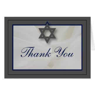 Gris élégant de carte de remerciements de Mitzvah