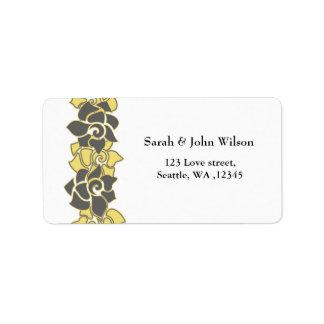 """""""gris jaune"""" floral, étiquette de adresse de"""