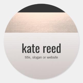 Gris rose moderne chic de Taupe d'accent d'or Sticker Rond