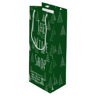 Groen en Witte Kerstmis van de douane Wijn Cadeautas