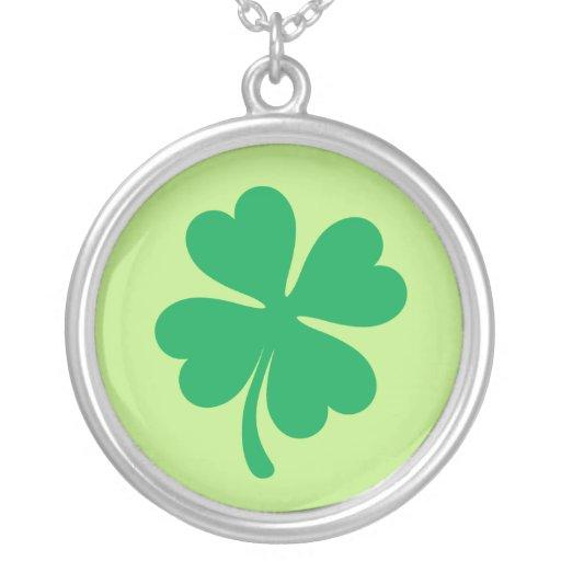 Groen klaver zilveren ketting