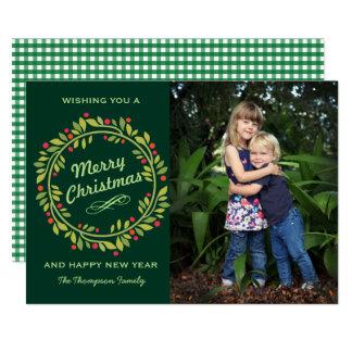 Groene Kroon | van Kerstmis Leuke Foto 12,7x17,8 Uitnodiging Kaart
