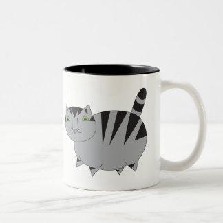 Grosse tasse grise lunatique de chat tigré