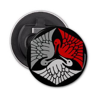Grues japonaises, rouge, gris/gris et noir décapsuleur