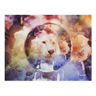 Grunge florale de bulle de tigre blanc carte postale