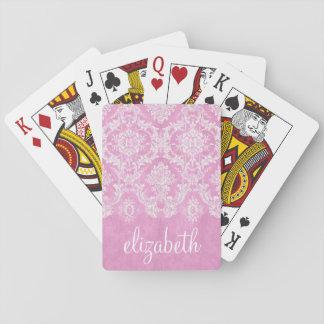 Grungy Patroon van het Damast van de pastelkleur Speelkaarten