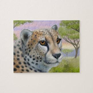 Guépard africain sauvage sur le puzzle de la