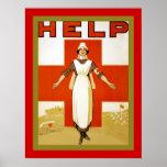 Guerre mondiale vintage de ~ d'infirmière de ~ d'a poster