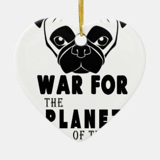 guerre pour la planète du chien frais de carlins ornement cœur en céramique