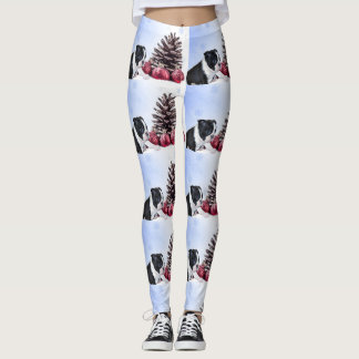 Guêtres d'art de chiens de Boston Terrier de Noël Leggings