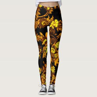 Guêtres florales de l'or des femmes belles leggings