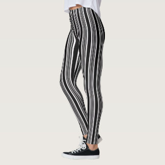 Guêtres noires et blanches à la mode de rayure leggings