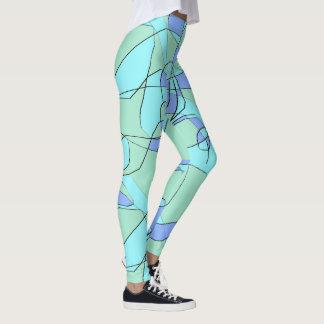 Guêtres turquoises de vert bleu et olive pour des leggings