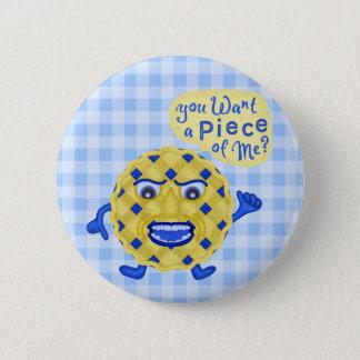 Guingan drôle d'humour de tarte de myrtille de badge rond 5 cm