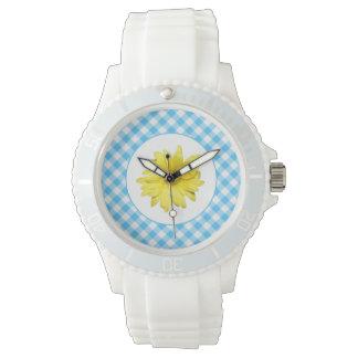 Guingan jaune de blanc de turquoise de marguerite montre