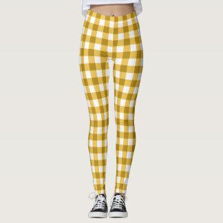 Guingan jaune et blanc vérifié leggings