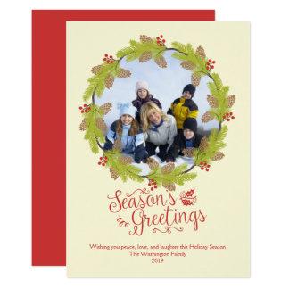 Guirlande de houx de photo de Noël de Bonnes Fêtes Carton D'invitation 12,7 Cm X 17,78 Cm