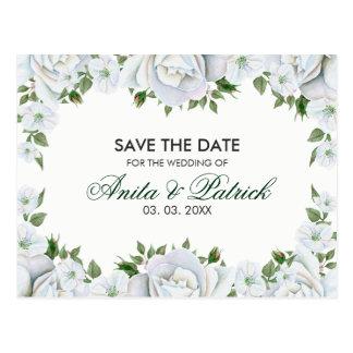 Guirlande de roses blancs carte postale