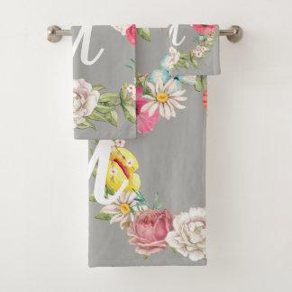 Guirlande florale d'aquarelle de monogramme