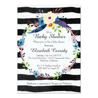 Guirlande florale, invitation de baby shower