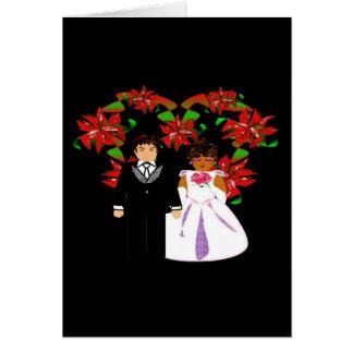 Guirlande interraciale de coeur de couples de carte de correspondance
