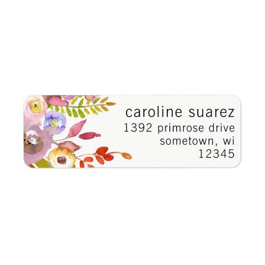Guirlande rose florale de feuille d'étiquettes de étiquette d'adresse retour