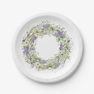 Guirlande rustique de fleurs sauvages de jardin assiettes en papier