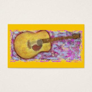 guitare acoustique avec la patine jaune cartes de visite