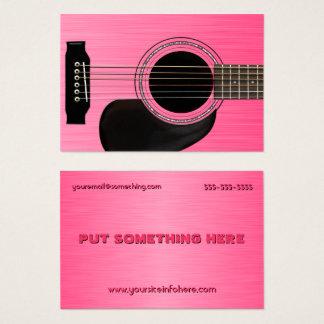 Guitare acoustique rose cartes de visite