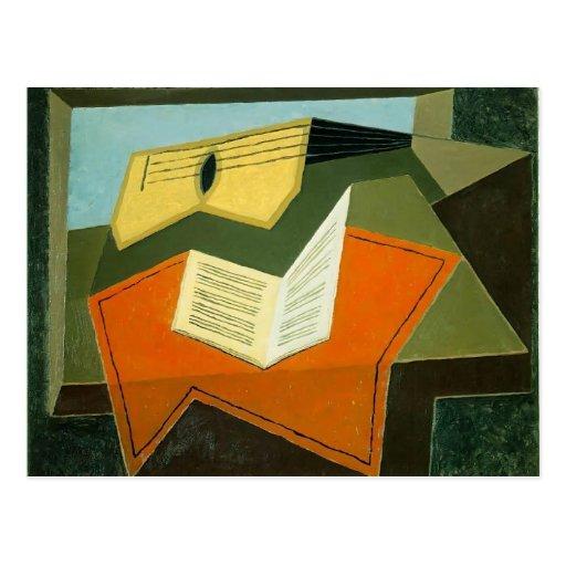 Guitare de Juan Gris- et papier de musique Cartes Postales