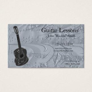 Guitare et notes musicales de relief cartes de visite