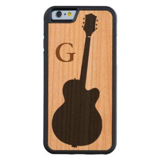 guitare noire simple et initiale coque iPhone 6 bumper en cerisier