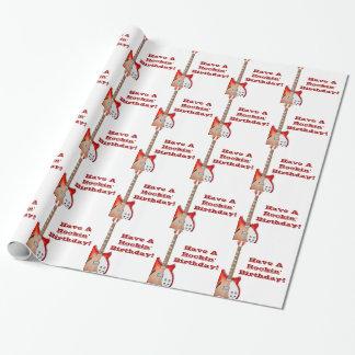 Guitare rouge et blanche, enveloppe de cadeau papiers cadeaux noël