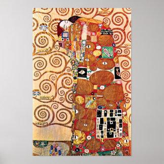 Gustav Klimt - l'étreinte - peinture de beaux-arts Poster