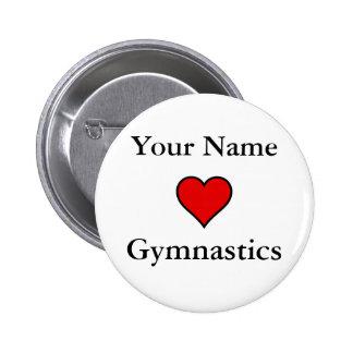 Gymnastique de coeurs (de votre nom) badge rond 5 cm