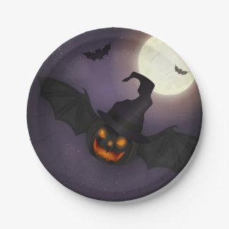 Halloween - batte effrayante de citrouille - tous assiettes en papier