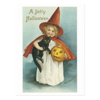 Halloween démodé, fille de sorcière avec le chat carte postale