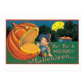 Halloween démodé, garçon avec le feu follet carte postale