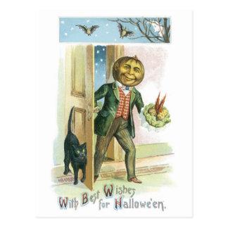 Halloween démodé, homme de citrouille carte postale