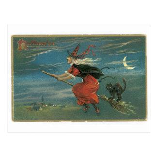 Halloween démodé, sorcière avec le chat noir carte postale