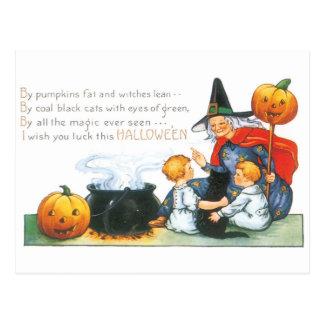 Halloween démodé, sorcière carte postale